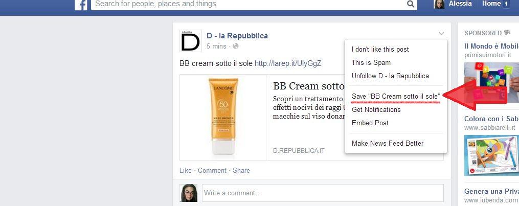 Save su Facebook